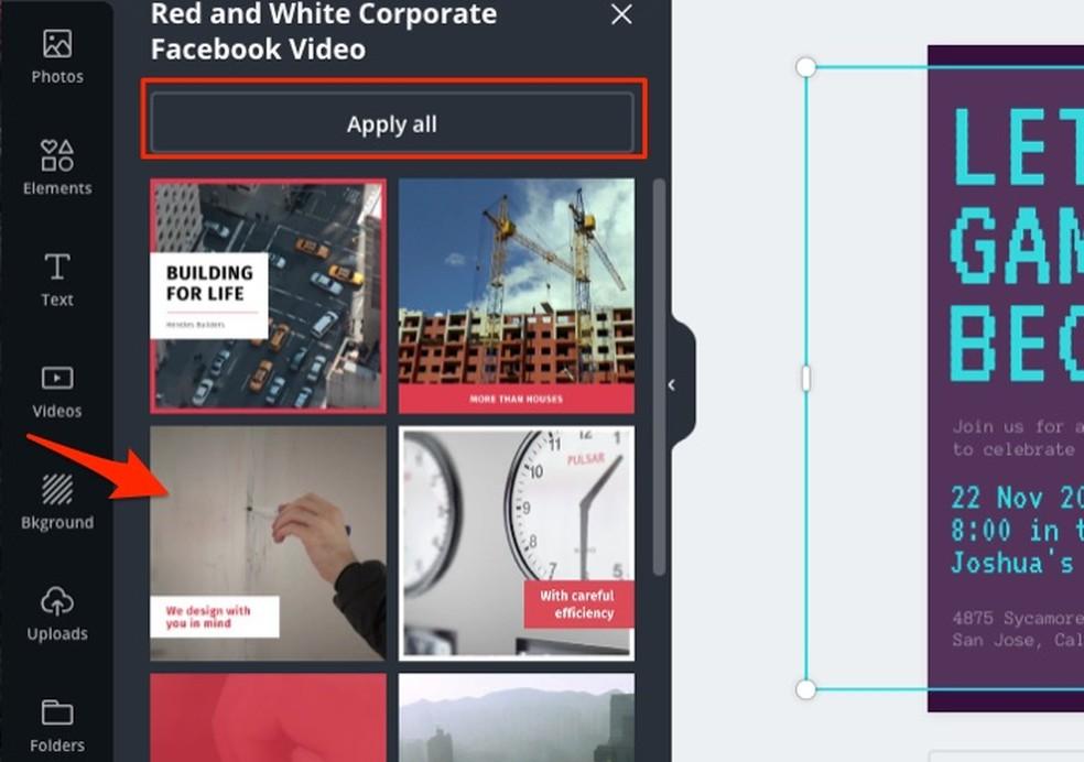 Videomallide valimisel, mida saab redigeerida Canva kaudu Foto: Reprodutseerimine / Marvin Costa võrguteenus