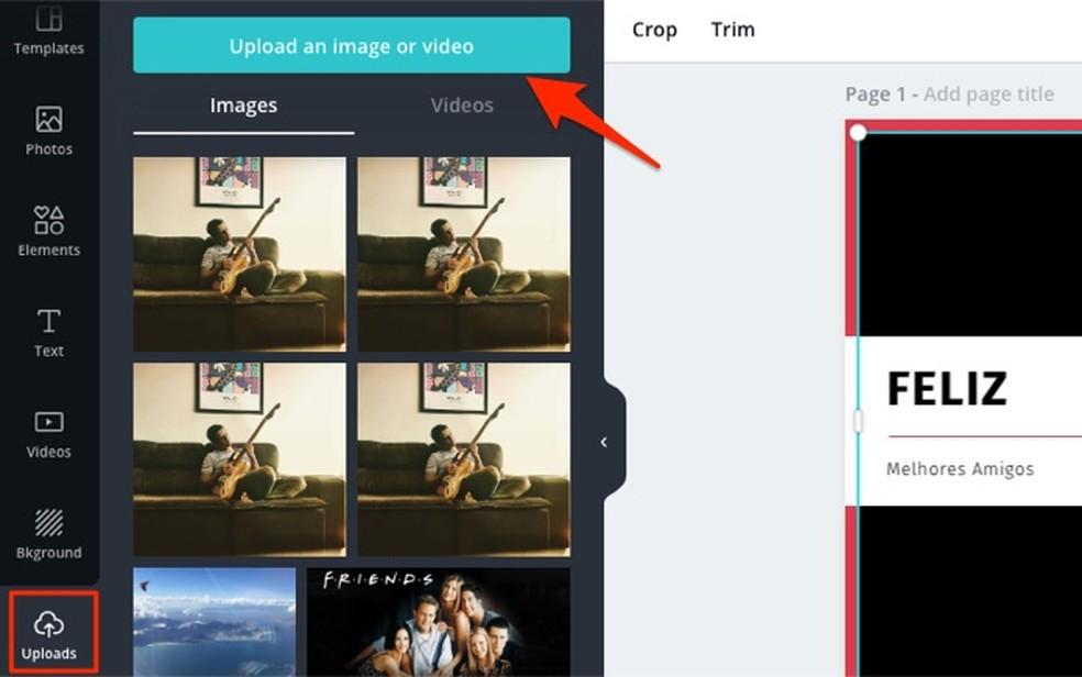 Canva võrguteenuse videote üleslaadimise valiku vaatamisel Foto: Reproduo / Marvin Costa