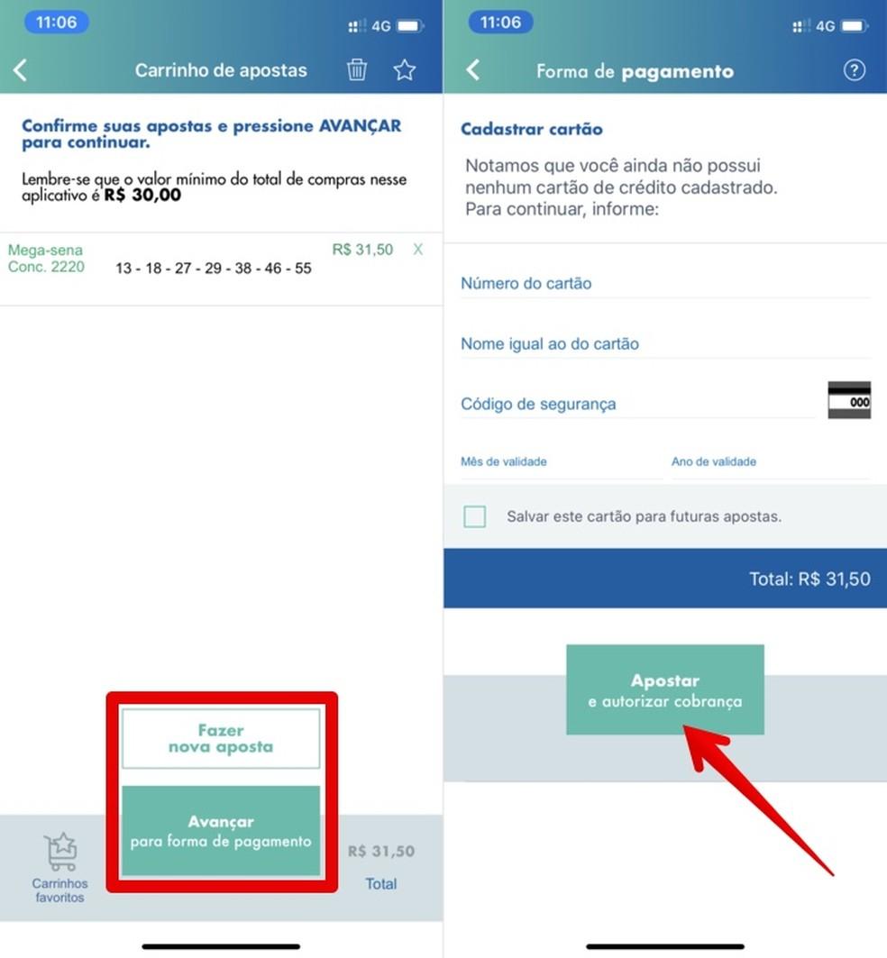 Sisestage kaardi üksikasjad Mega Sena da Virada 2019/2020 panuste maksmiseks Foto: Reproduo / Helito Beggiora