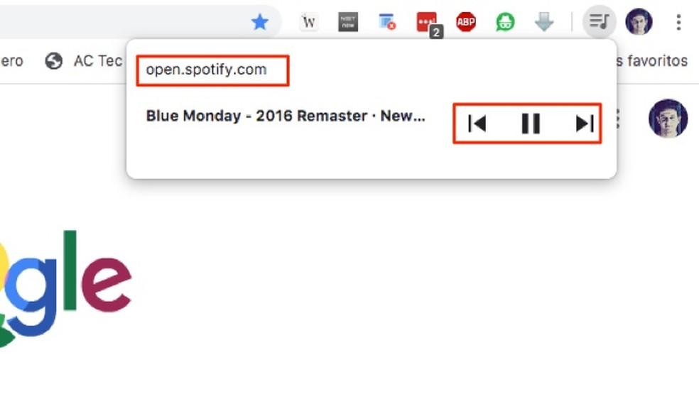 Toimingud Spotify veebimuusika taasesituse juhtimiseks Chrome'i fotol: Reproduction / Marvin Costa