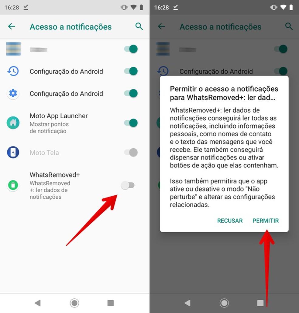 Volitatud rakenduste teatistele juurdepääsu lubamine kustutatud WhatsApi sõnumite taastamiseks Foto: Reproduo / Helito Beggiora