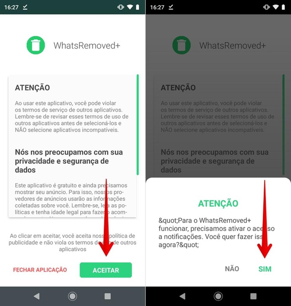 Kustutatud WhatsApp-sõnumite vaatamise rakenduse WhatsRemoved + algne konfiguratsioon Foto: Reproduo / Helito Beggiora
