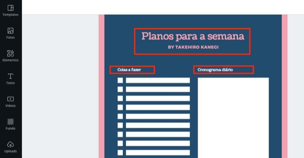 Canva veebisaidi isikupärastatud tekstipiirkond igapäevase planeerija mallis Foto: Reproduction / Marvin Costa