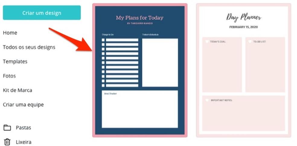 Millal Canva veebisaidil valida redigeeritav päevaplaneerija mall. Foto: Reproduction / Marvin Costa