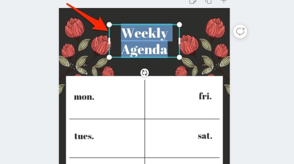 Canva võrguteenuste iganädalase plaanimalli teksti redigeerimisel Foto: Reproduo / Marvin Costa
