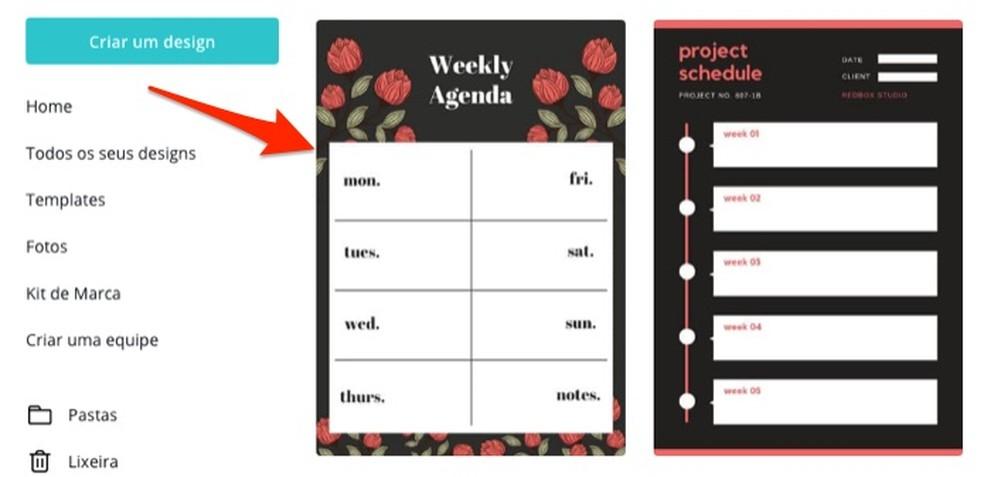 Millal valida nädala plaanija mall, mida Canva veebisaidil redigeerida Foto: Reproduo / Marvin Costa
