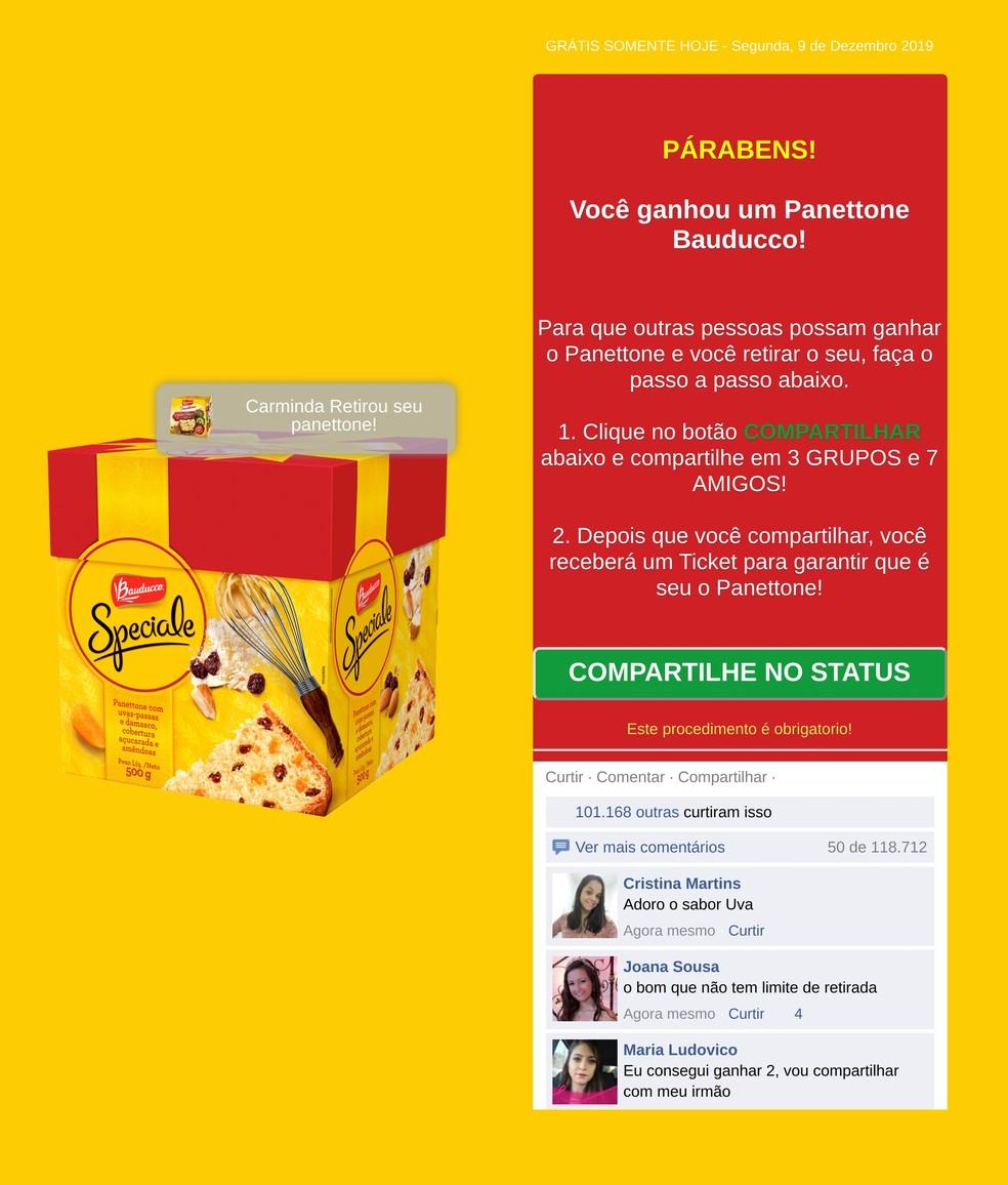 WhatsAppis levitatud pettused lubavad võltspakkumistel tasuta Bauducco panudoneid Foto: Reproduo / PSafe