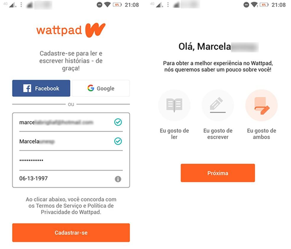 Registreeruge Wattpadis, et siseneda ja sisestada tasuta fotorakendus: Reproduo / Marcela Franco