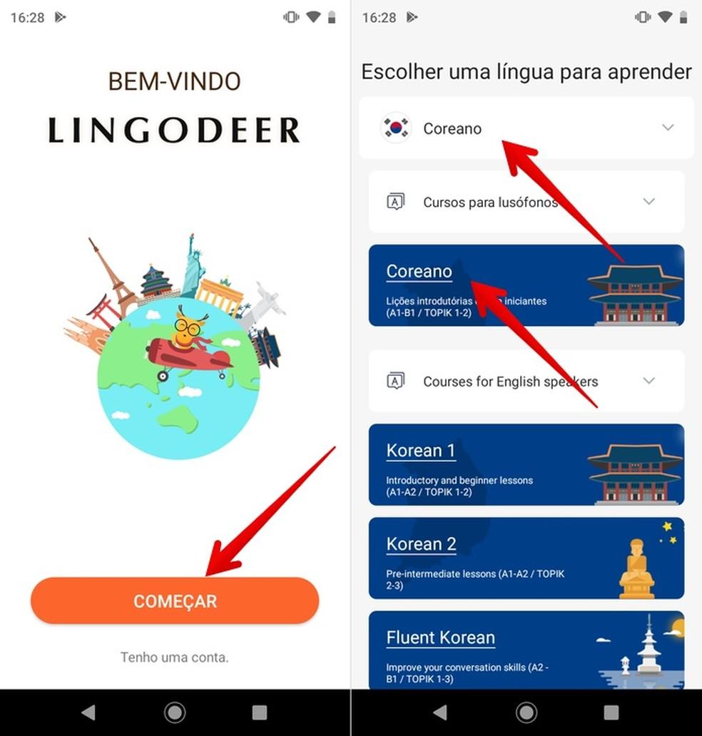 Korea fotode rääkimise õppimise rakenduse Lingodeeri algseadistamine: Reproduo / Helito Beggiora