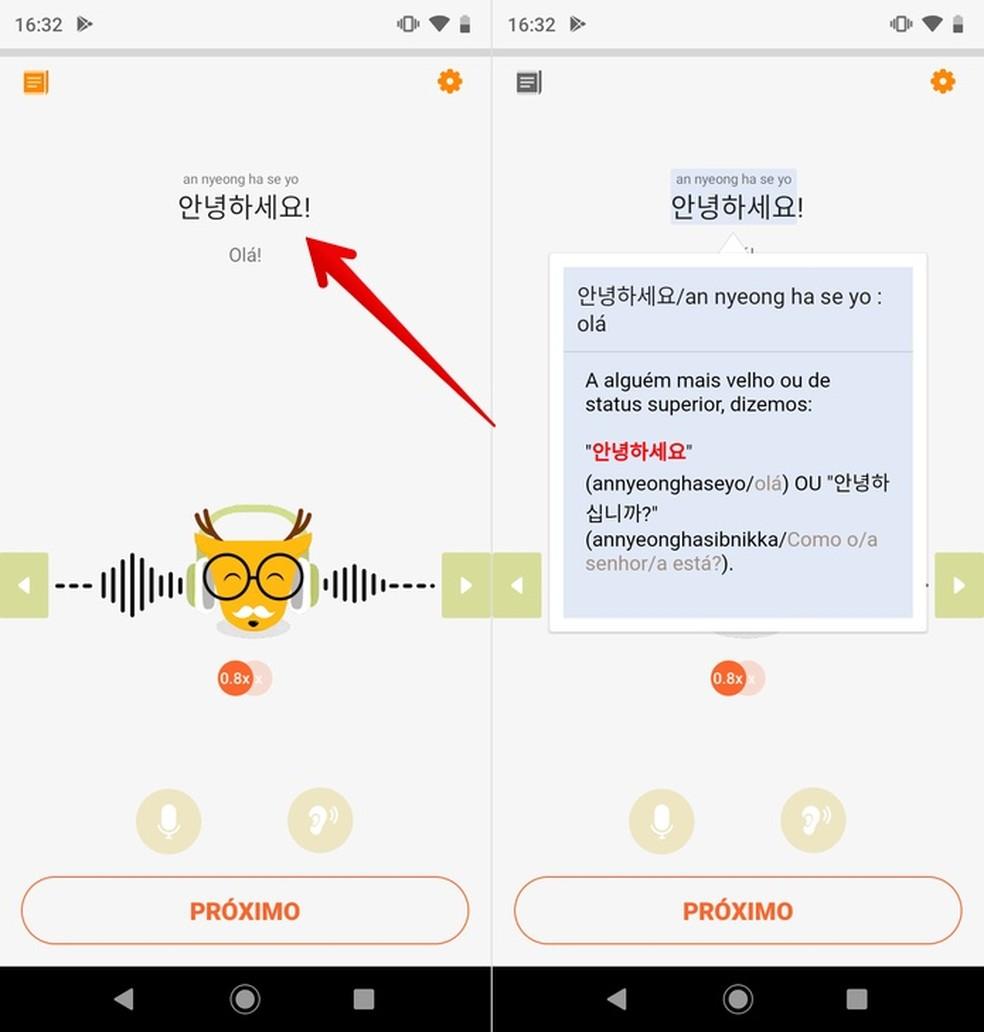 Korea tasuta õppe õppimiseks kasutage sõnastikurakendust. Fotod: Reproduo / Helito Beggiora