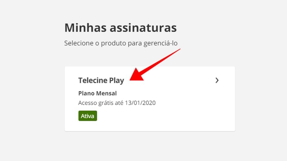 Juurdepääs Telecine Play Foto tellimise üksikasjadele: Reproduo / Paulo Alves
