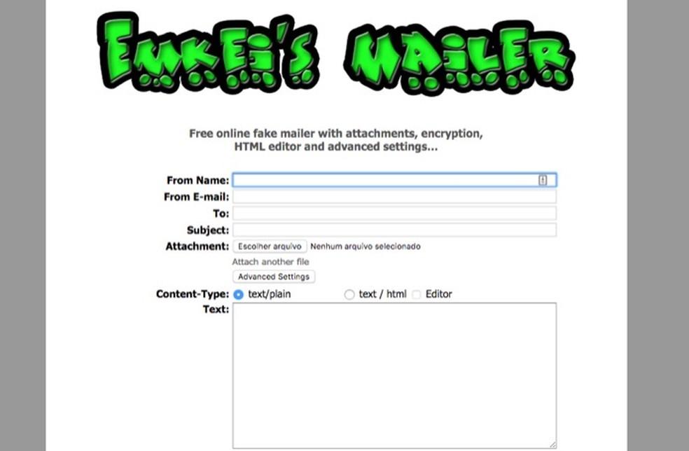 Teenuse liides anonüümsete Emkei Maileri foto e-kirjade saatmiseks: Reproduo / Marvin Costa