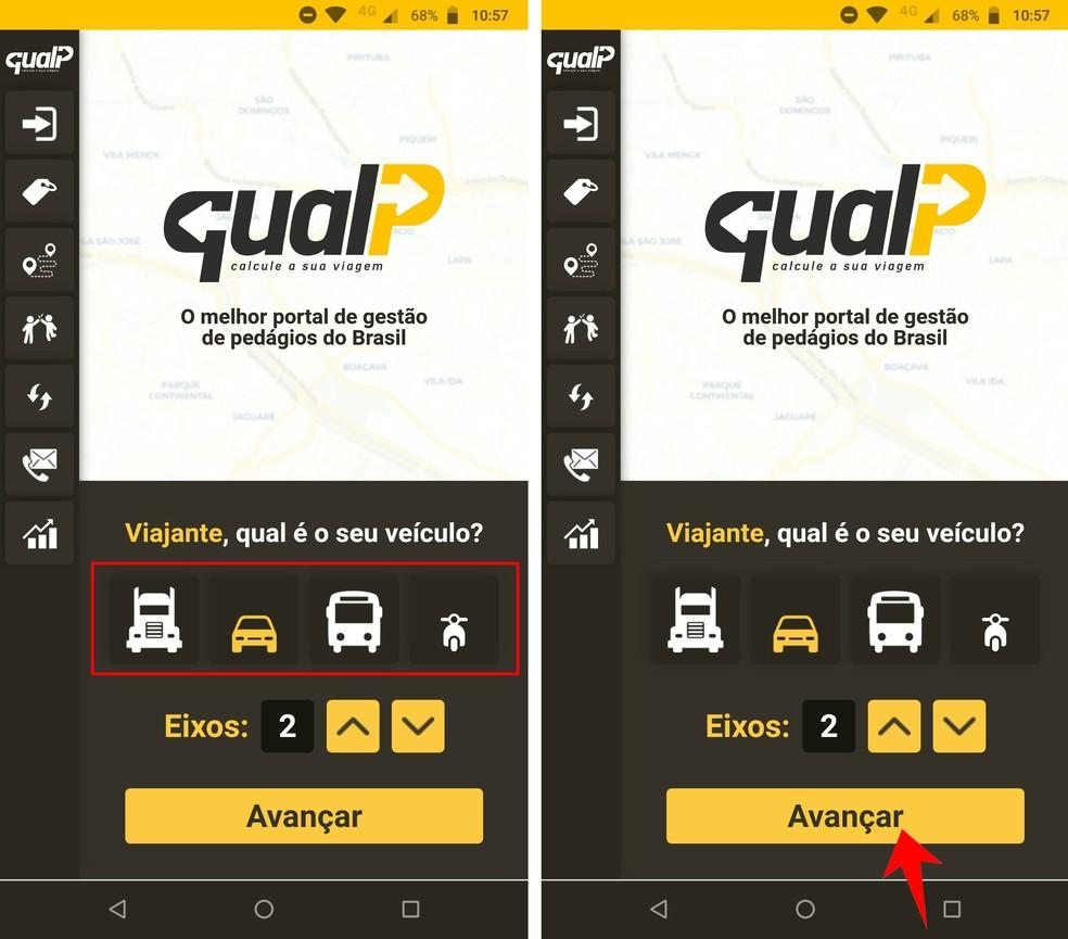 QualP võimaldab teil arvutada sõidu- ja kütusekulud vastavalt kasutatud sõidukile. Foto: Reproduo / Rodrigo Fernandes