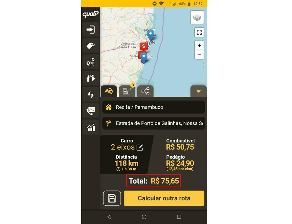 QualP võimaldab arvutada reisi jaoks vajalikke teemaksu ja kütust Foto: Reproduo / Rodrigo Fernandes
