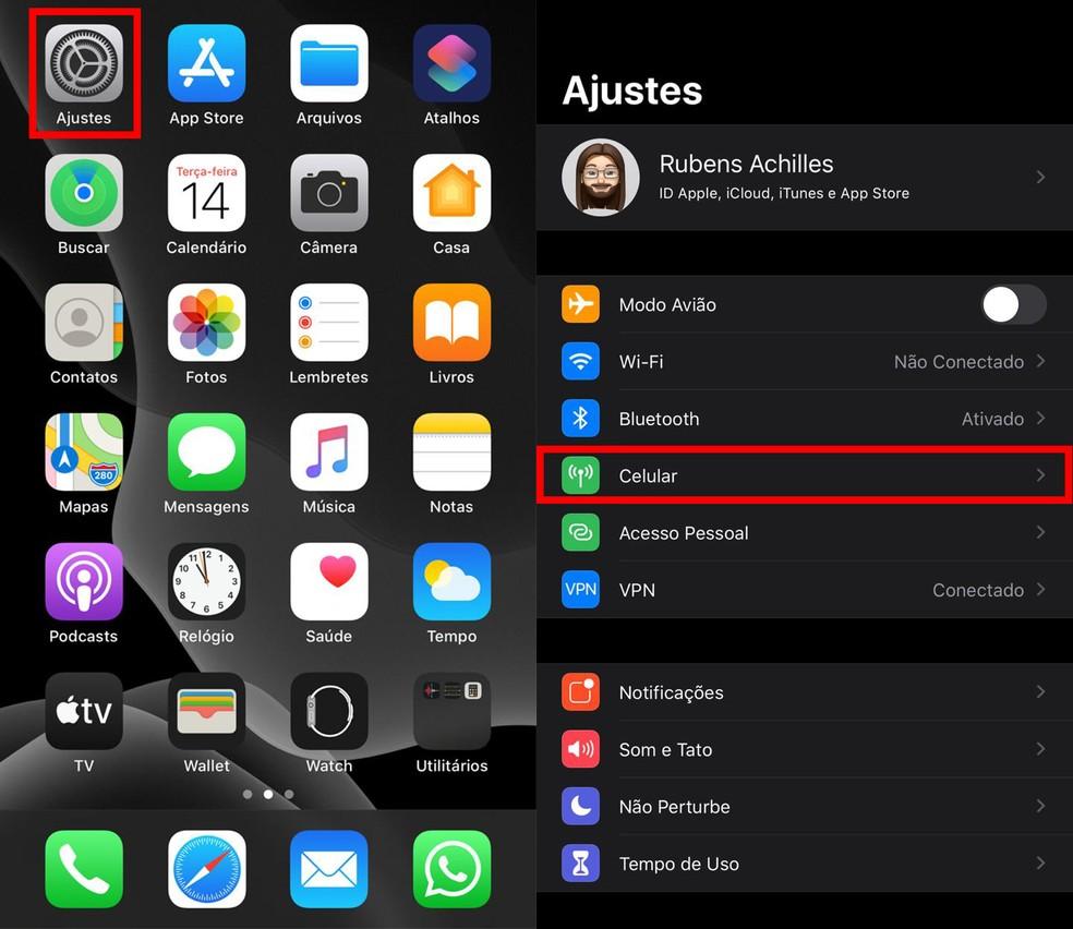 """IOS 13-s avage menüü """"Seaded"""" ja koputage valikuid """"Cellular"""" Fotod: Reproduo / TechTudo"""