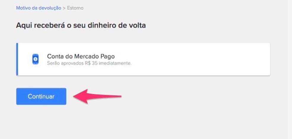 Mercado Livre'i kasutajatele tagastatakse ekraan, mis näitab, kuidas toote väärtus tagastatakse. Foto: Reproduo / Marvin Costa