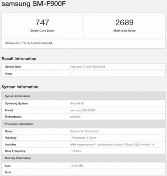 Galaxy voltimine Geekbenchil Android 10-ga