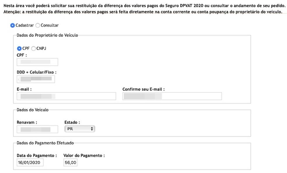 Sisestage nõutavad andmed, Foto: Reproduo / Helito Beggiora
