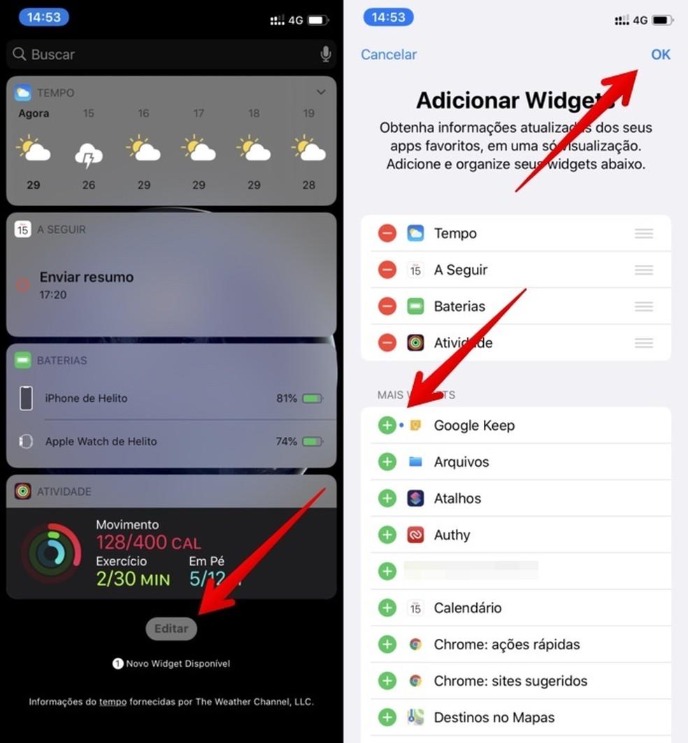 Seadistage Google Keepi vidin meeldetuletuste lisamiseks iPhone'i fotole: Reproduo / Helito Beggiora