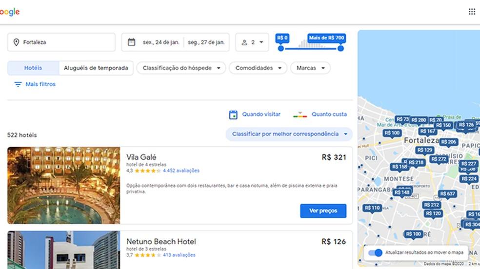 Vaadake hotellide loendit ja vaadake asukohti kaardil Foto: Reproduo / Paulo Alves