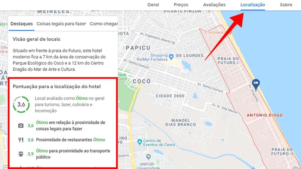 Kontrollige hotelli asukoha üksikasju. Foto: Reproduo / Paulo Alves