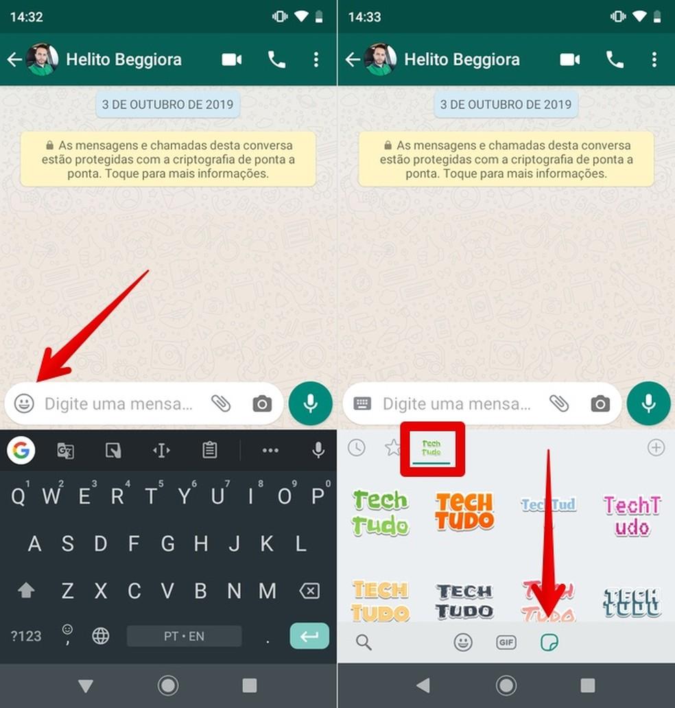 Juurdepääs WhatsAppis asuvale tekstiga kleebispaketile Foto: Reproduo / Helito Beggiora