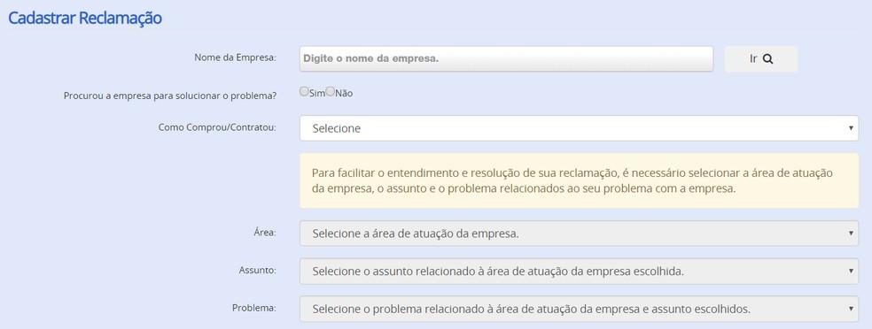 Kaebuste avamise protsess veebisaidil Consumidor.gov.br Foto: Reproduo / Consumidor.gov.br