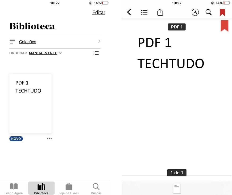 Apple Books võimaldab teil lugeda PDF-e iPhone'is Foto: Reproduo / Rodrigo Fernandes