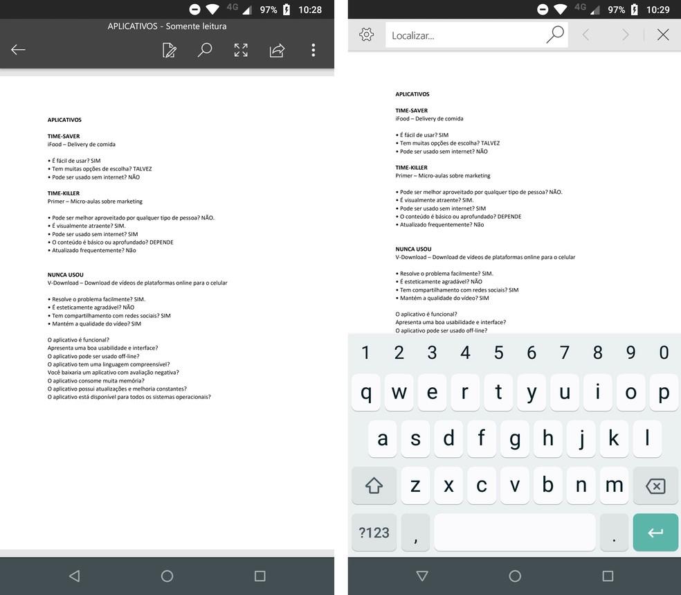 Microsoft Word avab PDF-faile ainult Android-telefonides. Fotod: Reproduo / Rodrigo Fernandes
