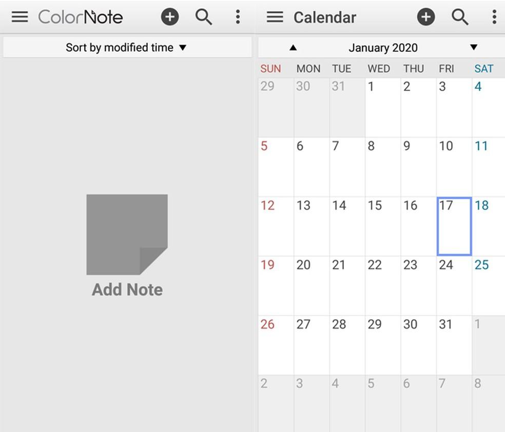 Parim Androidi märkmik? Rakendus võimaldab teil lisada oma mobiiltelefonile meeldetuletusi ja vaadata fotokalendrit: Reproduo / TechTudo