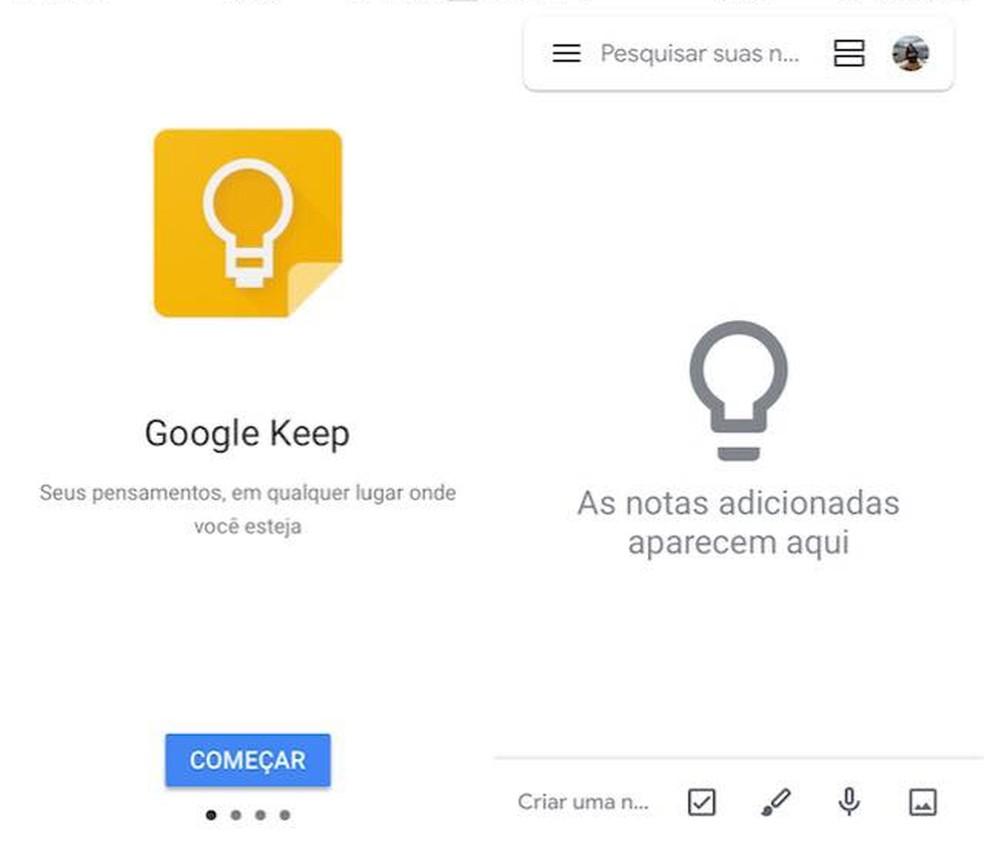 Google'i enda loodud märkmik võimaldab teil oma märkmeid redigeerida ja jagada mis tahes seadme abil. Foto: Reproduo / Julia Marques