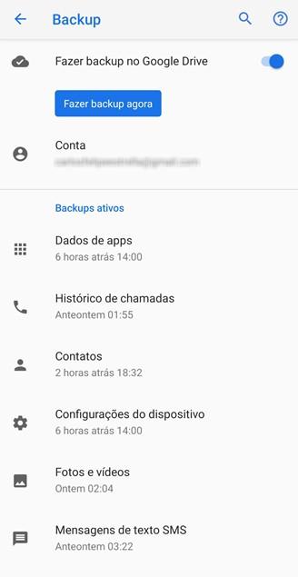 Google Drive'i varundusvalikud Android 9-s