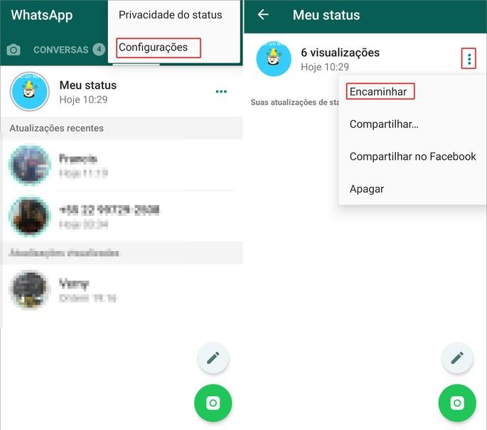 Vaadake WhatsApi olekut peidetud