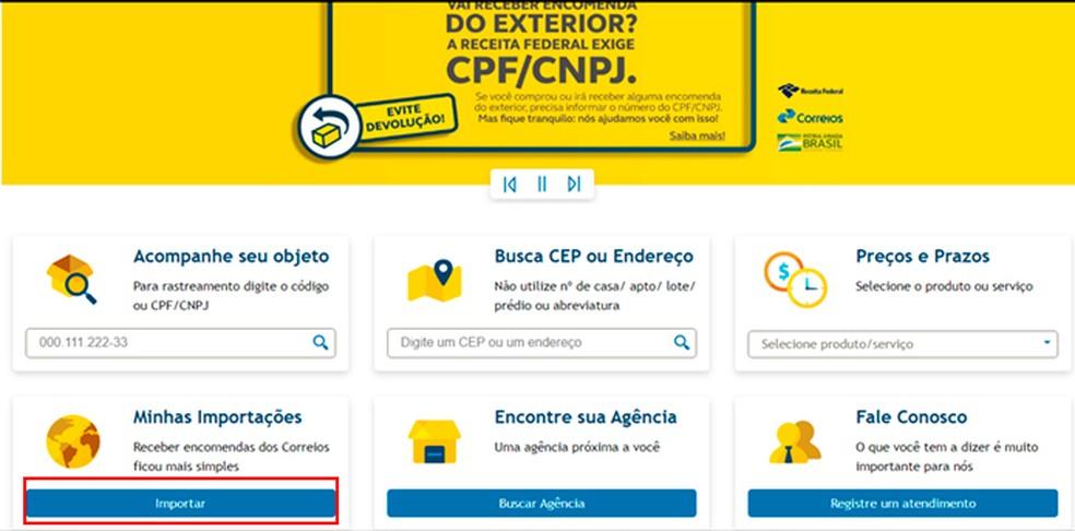 Correiose veebisaidi vahekaart Minu import võimaldab kasutajatel linkida impordi CPF-i fotodega: Reproduction / Caroline Doms