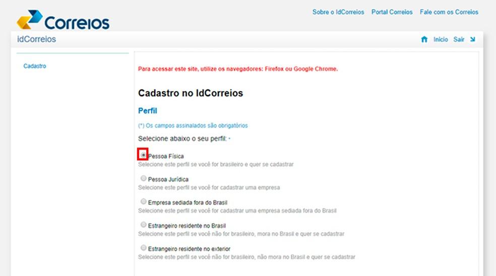 IdCorreios loomiseks peab kasutaja valima talle vastava profiili. Foto: Reproduo / Caroline Doms