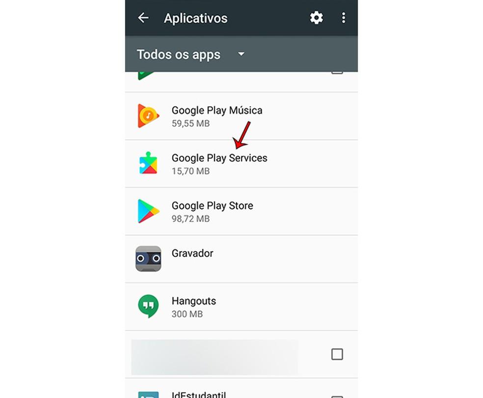 Kuidas Google Play teenuseid desaktiveerida, liikudes mobiilirakenduste loendisse Fotod: Marcela Franco / TechTudo