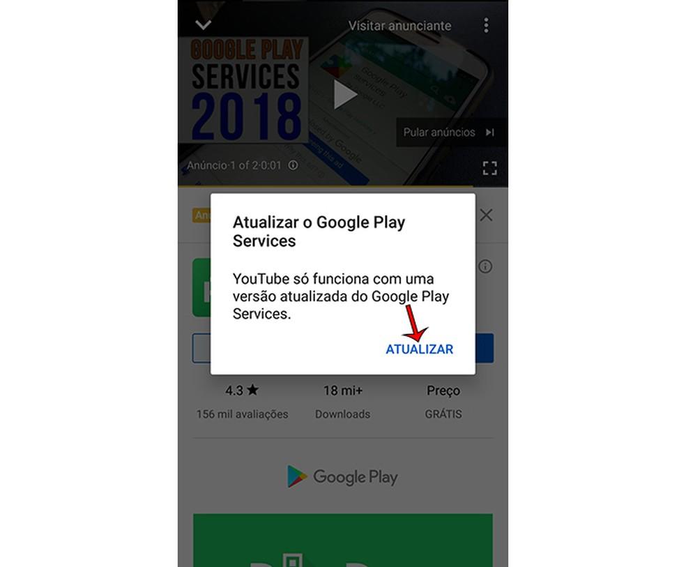 Google Play teenused jätkavad YouTube'is krahhi ja nõuab värskendatud allalaadimist Foto: Marcela Franco / TechTudo