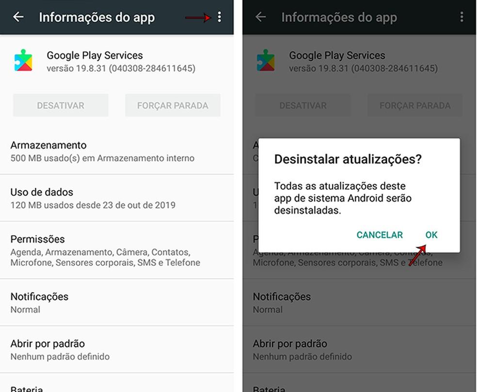 Google Play teenuste vanem versioon pärast foto desinstallimist: Marcela Franco / TechTudo värskendus