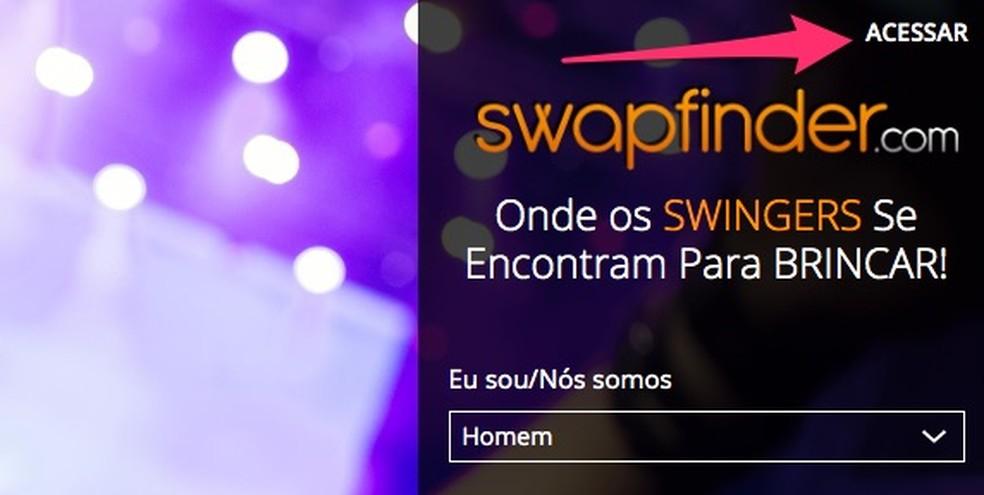 Swapfinderi veebisaidil foto sisenemise ekraanile minnes: Reproduo / Marvin Costa