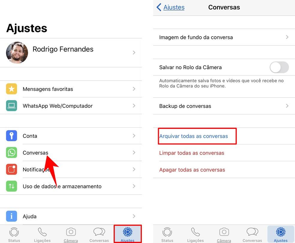 WhatsApp võimaldab arhiivida kõiki vestlusi korraga. Foto: Reproduo / Rodrigo Fernandes
