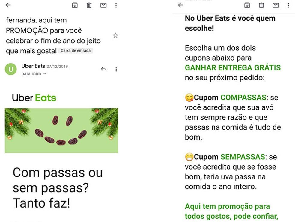 Uber Eats'is registreeritud e-post on fotode sooduskupongi saamiseks õige valik: Reproduo / Fernanda Lutfi