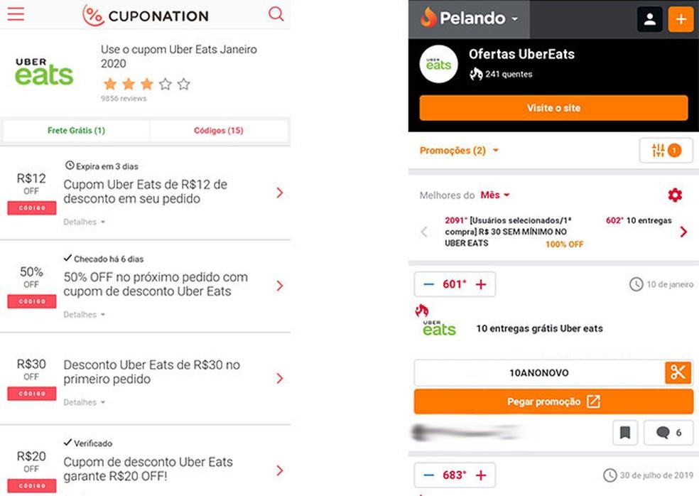 Otsige Eat Uberi jaoks sooduskuponge sellistest saitidest nagu Cuponation ja Photo Pelando: Reproduo / Fernanda Lutfi
