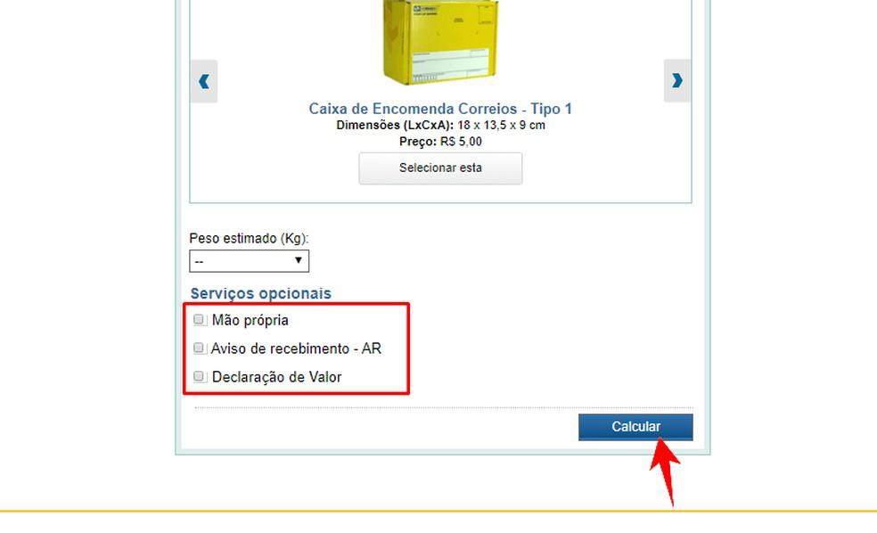 Correiose veebisait võimaldab teil tellida valikulise teenuse Fotode saadetiste arvutamiseks: Reproduo / Rodrigo Fernandes