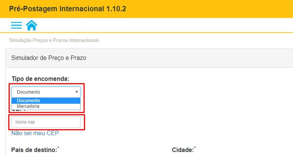 Correios võimaldab arvutada dokumentide saadetisi ja rahvusvahelisi kaupu Foto: Reproduo / Rodrigo Fernandes