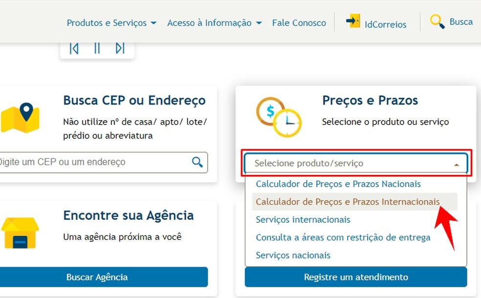 Correios veebisaidil on rahvusvaheline saatmiskalkulaator Foto: Reproduo / Rodrigo Fernandes