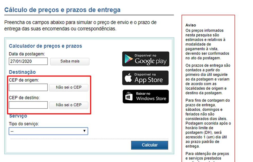 Correios arvutab saadetised postiindeksi abil. Foto: Reproduo / Rodrigo Fernandes