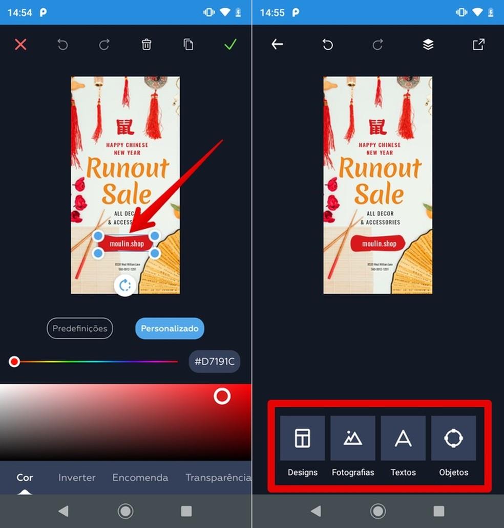 Objektide muutmine ja lisamine: Crello võimaldab teil luua ka fotolubasid. Foto: Reproduo / Helito Beggiora