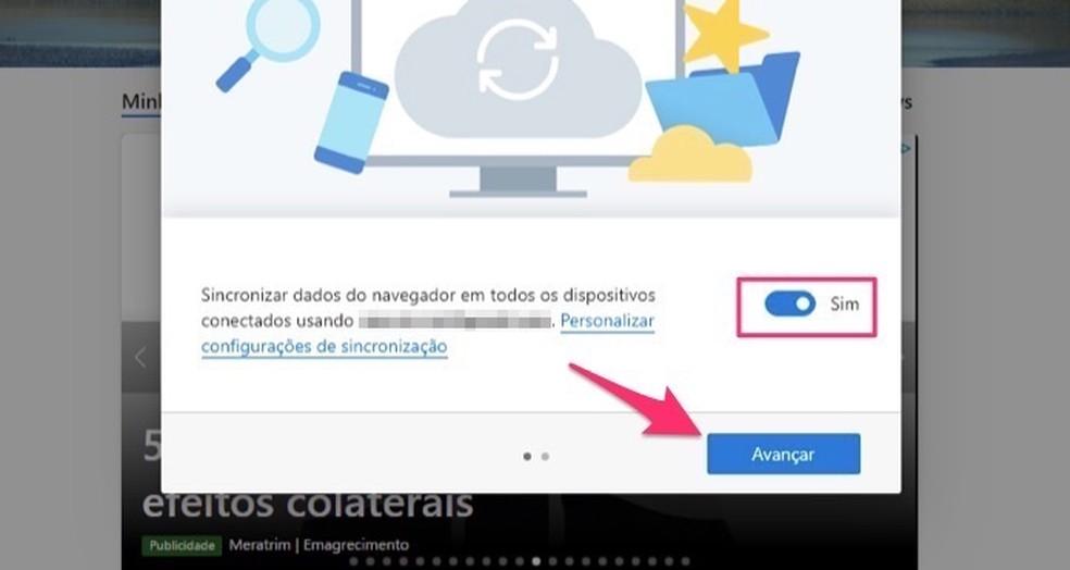 Teiste seadmete Microsoft Edge'i andmete sünkroonimise kinnitamisel Foto: Reproduction / Marvin Costa