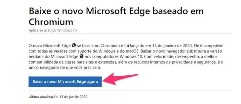 Kui vaadata uue Microsoft Edge'i foto allalaadimislehte: Reproduo / Marvin Costa