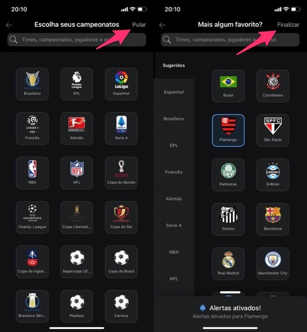 Liigade ja valitud võistkondade valik ESPN Watch Photos rakenduses: Reproduo / Marvin Costa
